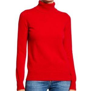 Neiman Marcus red turtleneck cashmere sweater Sz L
